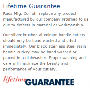 Rada Offers A Lifetime Guarantee For All Their Products