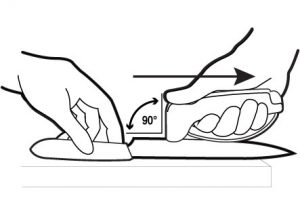 Swipe From Heel To Tip At A 90 Degree Angle
