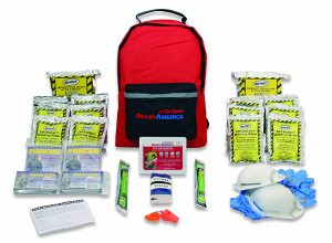 A Backpack Full Of Basic Essentials Such As Water, Food, Emergency Blankets, Light Sticks, And A First Aid Kit!